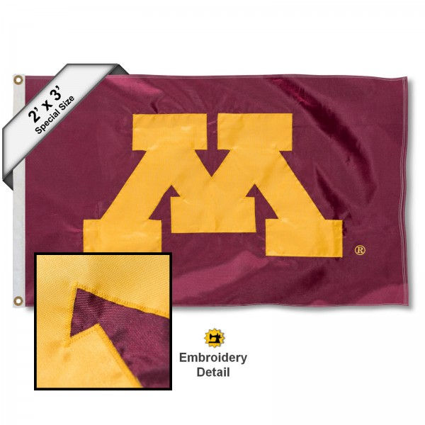 Minnesota Gophers M Small 2'x3' Flag