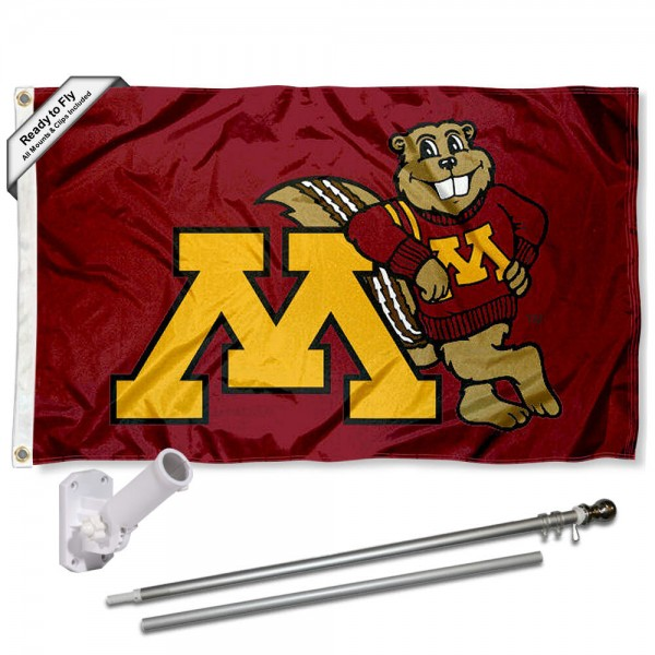 Our Minnesota Gophers Mascot Flag Pole and Bracket Kit includes the flag as shown and the recommended flagpole and flag bracket. The flag is made of polyester, has quad-stitched flyends, and the NCAA Licensed team logos are double sided screen printed. The flagpole and bracket are made of rust proof aluminum and includes all hardware so this kit is ready to install and fly.