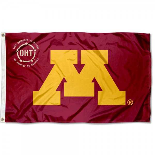Minnesota Gophers Operation Hat Trick Flag measures 3x5 feet, is made of 100% polyester, offers quadruple stitched flyends, has two metal grommets, and offers screen printed NCAA team logos and insignias. Our Minnesota Gophers Operation Hat Trick Flag is officially licensed by the selected university and NCAA.