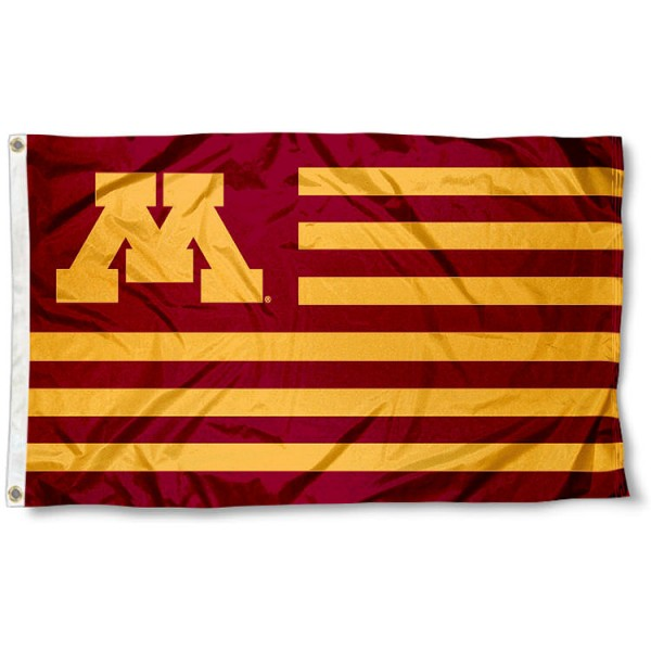 Minnesota Gophers Striped Flag measures 3'x5', is made of polyester, offers double stitched flyends for durability, has two metal grommets, and is viewable from both sides with a reverse image on the opposite side. Our Minnesota Gophers Striped Flag is officially licensed by the selected school university and the NCAA.