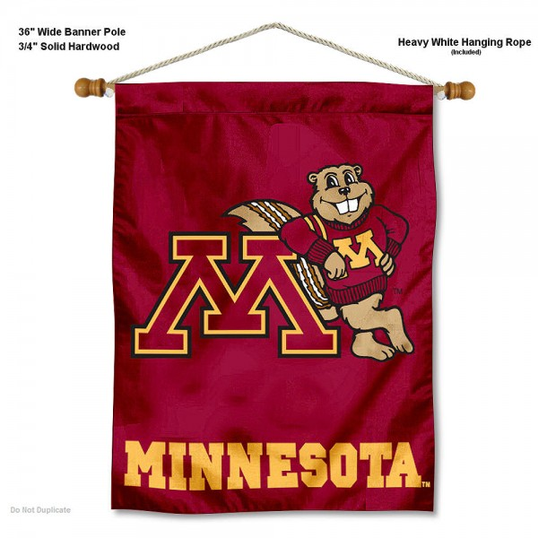 "Minnesota Gophers Wall Banner is constructed of polyester material, measures a large 30""x40"", offers screen printed athletic logos, and includes a sturdy 3/4"" diameter and 36"" wide banner pole and hanging cord. Our Minnesota Gophers Wall Banner is Officially Licensed by the selected college and NCAA."