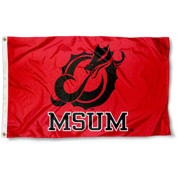 Minnesota State University Moorhead Flag measures 3'x5', is made of 100% poly, has quadruple stitched sewing, two metal grommets, and has double sided Minnesota State University Moorhead logos. Our Minnesota State University Moorhead Flag is officially licensed by the selected university and the NCAA.