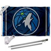 Minnesota Timberwolves Flag Pole and Bracket Kit