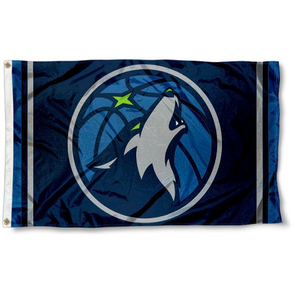 The Minnesota Timberwolves New Logo 3x5 Flag is four-stitched bordered, double sided, made of poly, 3'x5', and has two grommets. These Minnesota Timberwolves New Logo 3x5 Flags are NBA Genuine Merchandise.