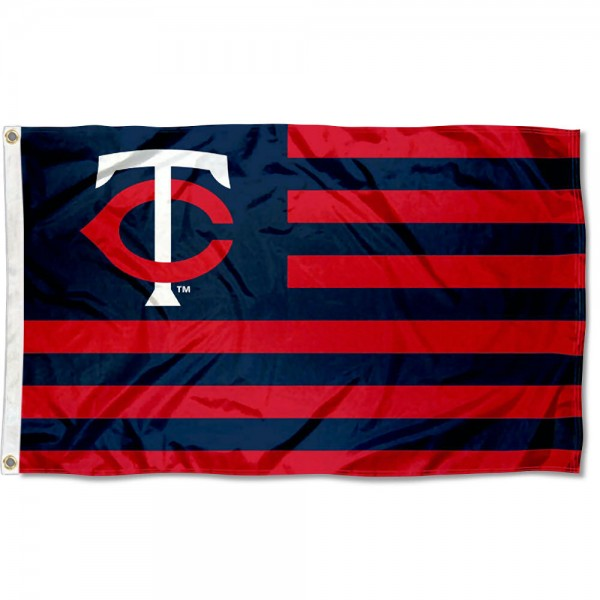 Minnesota Twins Americana Nation Flag measures 3x5 feet, is made of polyester, offers quad-stitched flyends, has two metal grommets, and is viewable from both sides with a reverse image on the opposite side. Our Minnesota Twins Americana Nation Flag is Genuine MLB Merchandise.