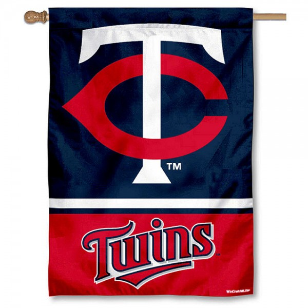 Minnesota Twins Double Sided House Flag is screen printed with Minnesota Twins logos, is made of 2-ply 100% polyester, and is two sided and double sided. Our banners measure 28x40 inches and hang vertically with a top pole sleeve to insert your banner pole or flagpole.