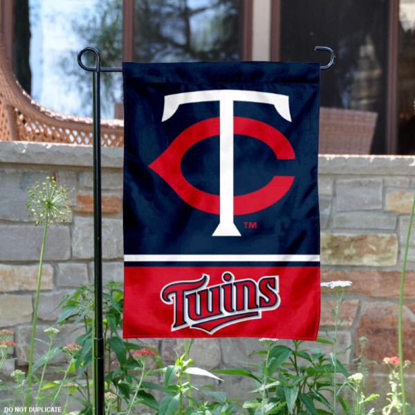 Minnesota Twins Garden Flag is 12.5x18 inches in size, is made of 2-ply polyester, and has two sided screen printed logos and lettering. Available with Express Next Day Shipping, our Minnesota Twins Garden Flag is MLB Genuine Merchandise and is double sided.