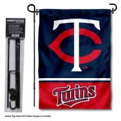 Minnesota Twins Logo Garden Flag and Stand