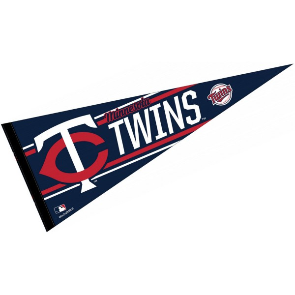This Minnesota Twins Pennant measures 12x30 inches, is constructed of felt, and is single sided screen printed with the Minnesota Twins logo and insignia. Each Minnesota Twins Pennant is a MLB Genuine Merchandise product.