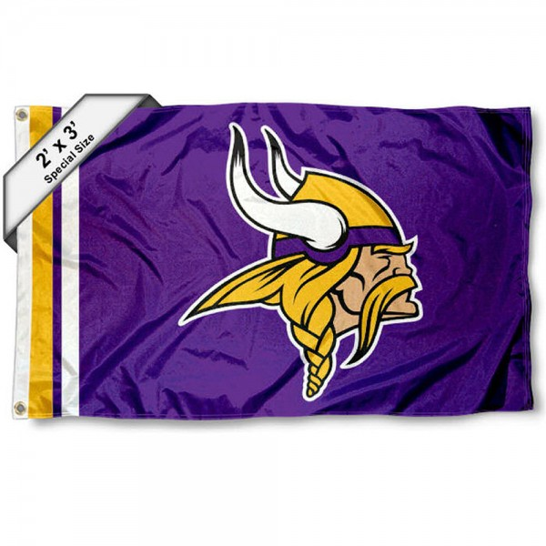 Minnesota Vikings 2x3 Feet Flag measures 2'x3', is made polyester, has quadruple stitched flyends, two metal grommets, and offers screen printed NFL Minnesota Vikings logos and insignias. Our Minnesota Vikings 2x3 Foot Flag is NFL Officially Licensed and approved.