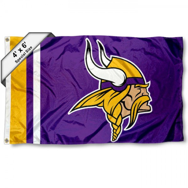 Minnesota Vikings 4x6 Flag measures a large 4x6 feet, is made polyester, has quadruple stitched flyends, two metal grommets, and offers screen printed NFL Minnesota Vikings logos and insignias. Our Minnesota Vikings 4x6 Foot Flag is NFL Officially Licensed and Minnesota Vikings approved.