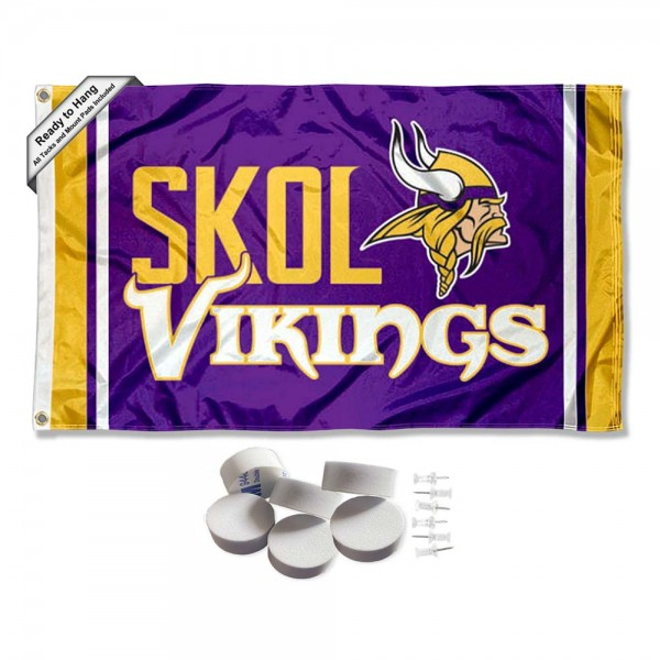 Our Minnesota Vikings Banner Flag with Tack Wall Pads is double sided, made of poly, 3'x5', has two metal grommets, indoor or outdoor, and four-stitched fly ends. These Minnesota Vikings Banner Flag with Tack Wall Padss are Officially Approved by the Minnesota Vikings. Tapestry Wall Hanging Tack Pads which include a 6 pack of banner display pads with 6 tacks allowing you to hang your pennant on any wall damage-free.
