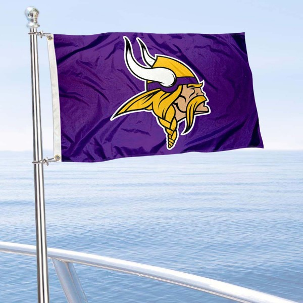 "Our Minnesota Vikings Boat and Nautical Flag is 12""x18"", made of three-ply poly, has a solid header with two metal grommets, and is double sided. This Boat and Nautical Flag for Minnesota Vikings is Officially Licensed by the NFL and can also be used as a motorcycle flag, boat flag, golf cart flag, or recreational flag."