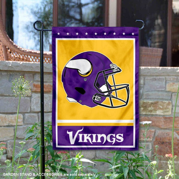 Minnesota Vikings Football Garden Banner Flag is 12.5x18 inches in size, is made of 2-ply polyester, and has two sided screen printed logos and lettering. Available with Express Next Day Ship, our Minnesota Vikings Football Garden Banner Flag is NFL Officially Licensed and is double sided.