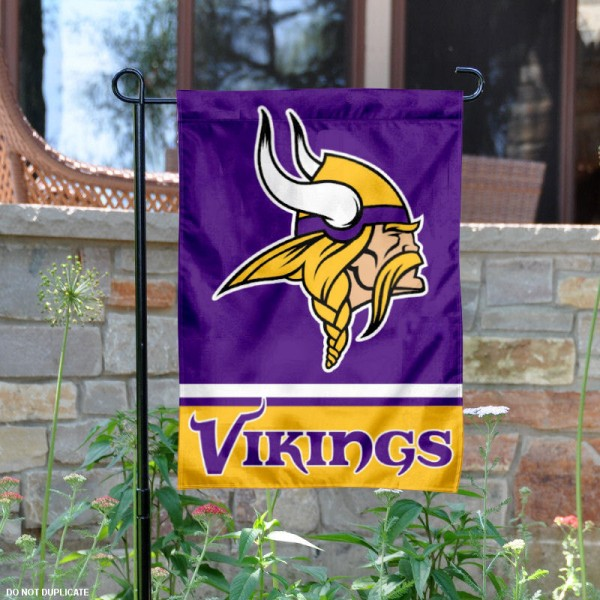 Minnesota Vikings Garden Flag is 12.5x18 inches in size, is made of 2-ply polyester, and has two sided screen printed logos and lettering. Available with Express Next Day Ship, our Minnesota Vikings Garden Flag is NFL Officially Licensed and is double sided.