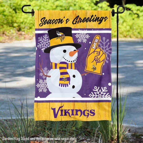 Minnesota Vikings Holiday Winter Snow Double Sided Garden Flag is 12.5x18 inches in size, is made of 2-ply polyester, and has two sided screen printed logos and lettering. Available with Express Next Day Ship, our Minnesota Vikings Holiday Winter Snow Double Sided Garden Flag is NFL Officially Licensed and is double sided.