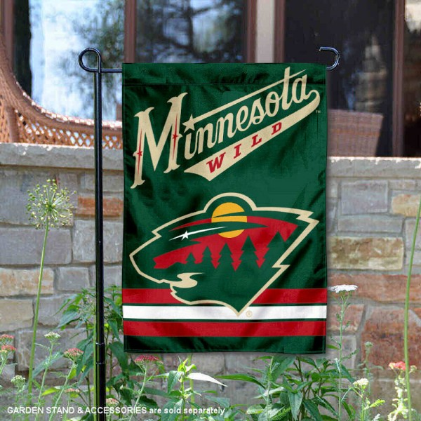 Minnesota Wild Garden Flag is 12.5x18 inches in size, is made of 2-ply polyester, and has two sided screen printed logos and lettering. Available with Express Next Day Ship, our Minnesota Wild Garden Flag is NHL Officially Licensed and is double sided.