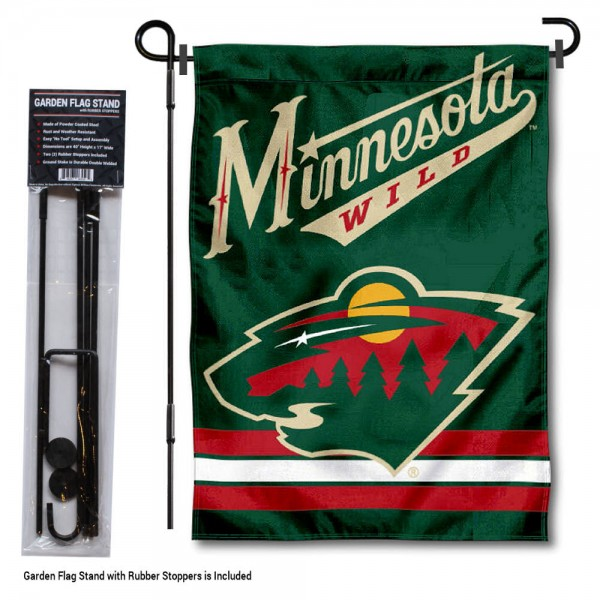 Minnesota Wild Garden Flag and Flagpole Stand