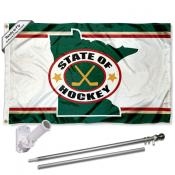 Minnesota Wild State of Hockey Flag Pole and Bracket Kit