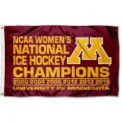 Minnesota Women's 6x National Champs Hockey Flag