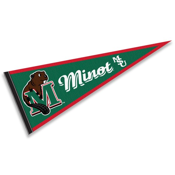 Minot State Beavers Pennant consists of our full size sports pennant which measures 12x30 inches, is constructed of felt, is single sided imprinted, and offers a pennant sleeve for insertion of a pennant stick, if desired. This Minot State Beavers Pennant Decorations is Officially Licensed by the selected university and the NCAA.