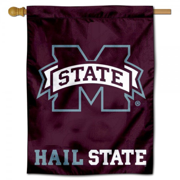 """Miss State Bulldogs Hail State Banner Flag is constructed of polyester material, is a vertical house flag, measures 30""""x40"""", offers screen printed athletic insignias, and has a top pole sleeve to hang vertically. Our Miss State Bulldogs Hail State Banner Flag is Officially Licensed by Mississippi State University and NCAA."""