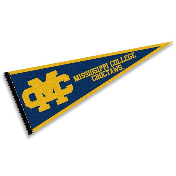 Mississippi College Choctaws Pennant consists of our full size sports pennant which measures 12x30 inches, is constructed of felt, is single sided imprinted, and offers a pennant sleeve for insertion of a pennant stick, if desired. This Mississippi College Choctaws Pennant Decorations is Officially Licensed by the selected university and the NCAA.