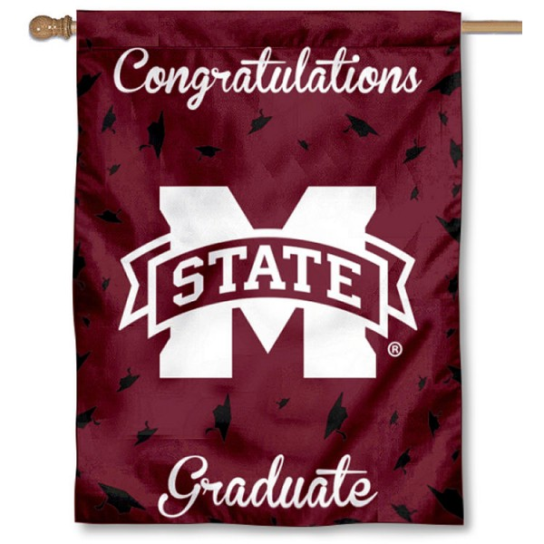 Mississippi State Bulldogs Congratulations Graduate Flag measures 30x40 inches, is made of poly, has a top hanging sleeve, and offers dye sublimated Mississippi State Bulldogs logos. This Decorative Mississippi State Bulldogs Congratulations Graduate House Flag is officially licensed by the NCAA.