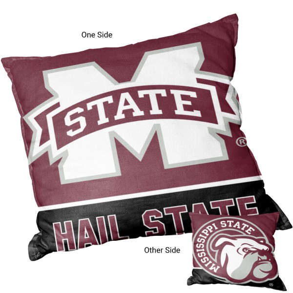 Mississippi State Bulldogs Double Sided Pillow measures 15 x 15 inches square, has a cover made of 600D Thick Polyester, included New polyester fill, and is double sided screen printed with a unique logo on each side. Each college pillow includes Officially Licensed Logos and Insignias.