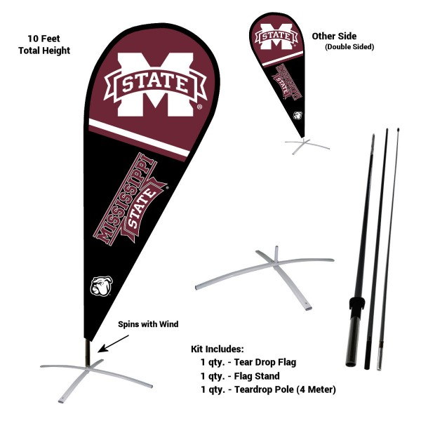 Mississippi State Bulldogs Feather Flag Kit measures a tall 10' when fully assembled. The kit includes a Feather Flag, 3 Piece Fiberglass Pole, and matching Metal Feather Flag Stand. Our Mississippi State Bulldogs Feather Flag Kit easily assembles and is NCAA Officially Licensed by the selected school or university.