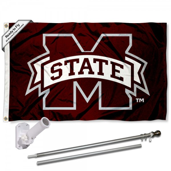 Our Mississippi State Bulldogs Flag Pole and Bracket Kit includes the flag as shown and the recommended flagpole and flag bracket. The flag is made of polyester, has quad-stitched flyends, and the NCAA Licensed team logos are double sided screen printed. The flagpole and bracket are made of rust proof aluminum and includes all hardware so this kit is ready to install and fly.