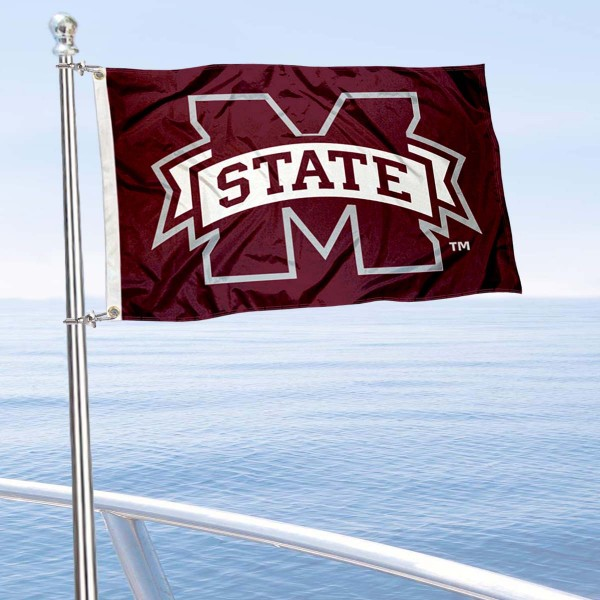 Mississippi State Bulldogs Golf Cart Flag is a small 12x18 inches, made of 2-ply polyester with quad stitched flyends, and is double-sided. Our Golf Cart Logo Flags are Officially Licensed and Approved by Mississippi State University and NCAA.