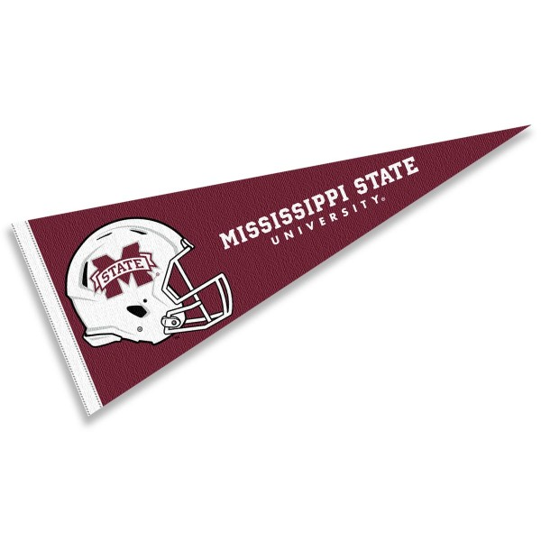 Mississippi State Bulldogs Helmet Pennant consists of our full size sports pennant which measures 12x30 inches, is constructed of felt, is single sided imprinted, and offers a pennant sleeve for insertion of a pennant stick, if desired. This Mississippi State Bulldogs Pennant Decorations is Officially Licensed by the selected university and the NCAA.