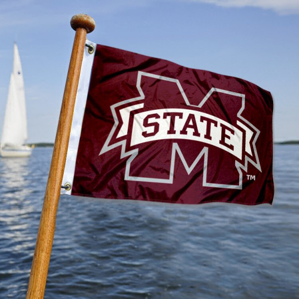 Mississippi State Bulldogs Nautical Flag measures 12x18 inches, is made of two-ply polyesters, offers quadruple stitched flyends for durability, has two metal grommets, and is viewable from both sides. Our Mississippi State Bulldogs Nautical Flag is officially licensed by the selected university and the NCAA and can be used as a motorcycle flag, golf cart flag, or ATV flag.
