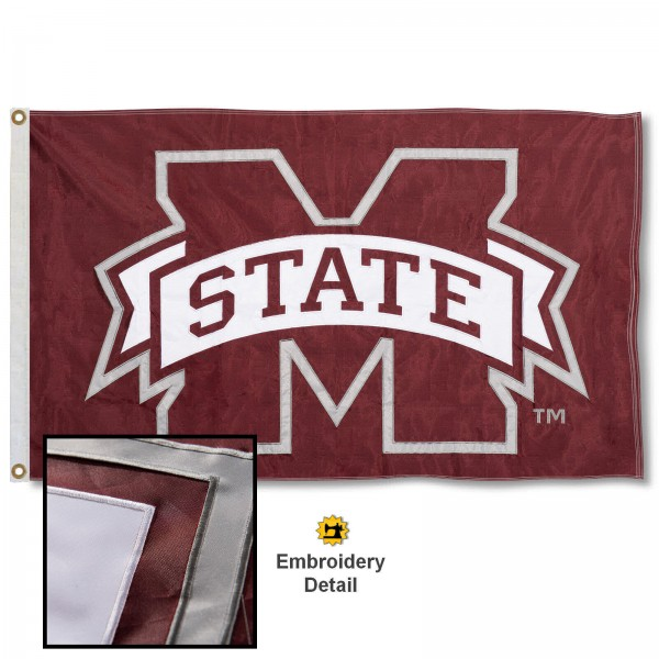 Mississippi State Bulldogs Nylon Embroidered Flag measures 3'x5', is made of 100% nylon, has quadruple flyends, two metal grommets, and has double sided appliqued and embroidered University logos. These Mississippi State Bulldogs 3x5 Flags are officially licensed by the selected university and the NCAA.