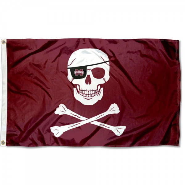 Mississippi State Bulldogs Pirate Flag is made of 100% nylon, offers quad stitched flyends, measures 3x5 feet, has two metal grommets, and is viewable from both side with the opposite side being a reverse image. Our Mississippi State Bulldogs Pirate Flag is officially licensed by the selected college and NCAA
