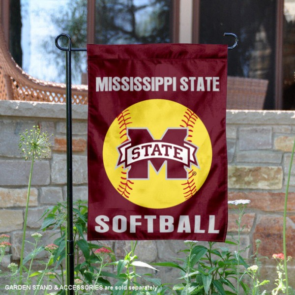 Mississippi State Bulldogs Softball Garden Flag and Yard Banner is 13x18 inches in size, is made of 2-layer double sided with liner polyester, screen printed Mississippi State Bulldogs athletic logos and lettering. Available with Same Day Express Shipping, Our Mississippi State Bulldogs Softball Garden Flag and Yard Banner is officially licensed and approved by Mississippi State Bulldogs and the NCAA.