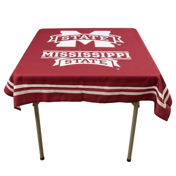 Mississippi State Bulldogs Table Cloth measures 48 x 48 inches, is made of 100% Polyester, seamless one-piece construction, and is perfect for any tailgating table, card table, or wedding table overlay. Each includes Officially Licensed Logos and Insignias.