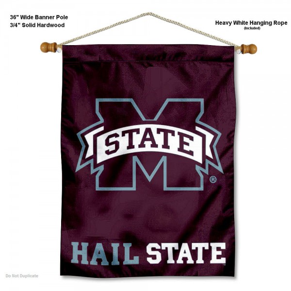 "Mississippi State Bulldogs Wall Banner is constructed of polyester material, measures a large 30""x40"", offers screen printed athletic logos, and includes a sturdy 3/4"" diameter and 36"" wide banner pole and hanging cord. Our Mississippi State Bulldogs Wall Banner is Officially Licensed by the selected college and NCAA."