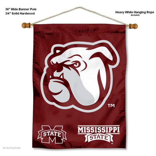 """Mississippi State Bulldogs Wall Banner is constructed of polyester material, measures a large 30""""x40"""", offers screen printed athletic logos, and includes a sturdy 3/4"""" diameter and 36"""" wide banner pole and hanging cord. Our Mississippi State Bulldogs Wall Banner is Officially Licensed by the selected college and NCAA."""