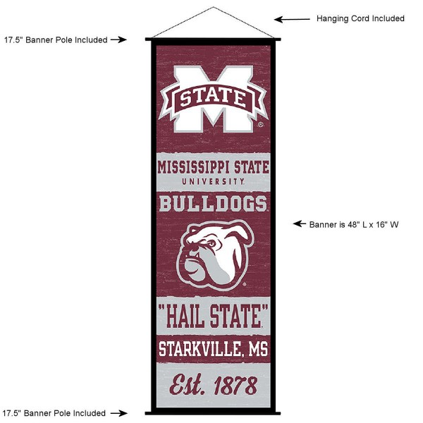 """This """"ready to hang"""" Mississippi State University Decor and Banner is made of polyester material, measures a large 17.5"""" x 48"""", offers screen printed athletic logos, and includes both top and bottom 3/4"""" diameter plastic banner poles and hanging cord. Our Mississippi State University D�cor and Banner is Officially Licensed by the selected college and NCAA."""