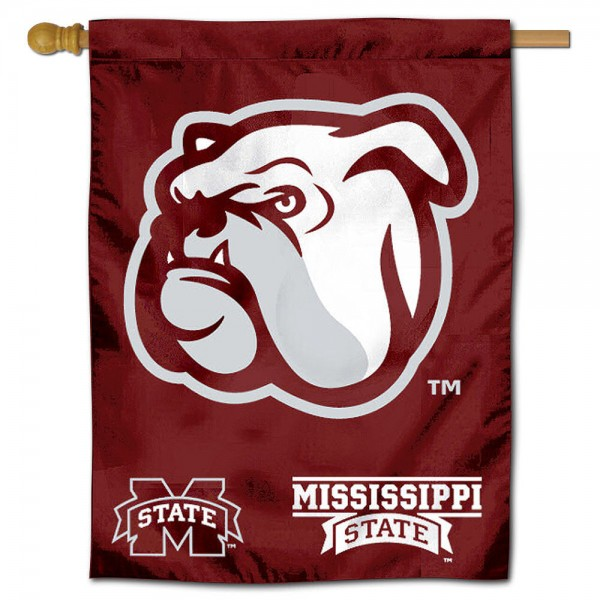 "Mississippi State University Decorative Flag is constructed of polyester material, is a vertical house flag, measures 30""x40"", offers screen printed athletic insignias, and has a top pole sleeve to hang vertically. Our Mississippi State University Decorative Flag is Officially Licensed by Mississippi State University and NCAA."