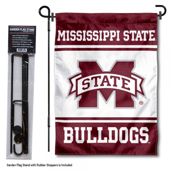 """Mississippi State University Garden Flag and Stand kit includes our 13""""x18"""" garden banner which is made of 2 ply poly with liner and has screen printed licensed logos. Also, a 40""""x17"""" inch garden flag stand is included so your Mississippi State University Garden Flag and Stand is ready to be displayed with no tools needed for setup. Fast Overnight Shipping is offered and the flag is Officially Licensed and Approved by the selected team."""