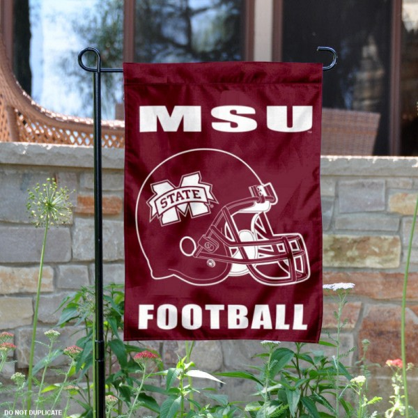 Mississippi State University Football Helmet Garden Banner is 13x18 inches in size, is made of 2-layer polyester, screen printed MSU Bulldogs athletic logos and lettering. Available with Same Day Express Shipping, Our Mississippi State University Football Helmet Garden Banner is officially licensed and approved by MSU Bulldogs and the NCAA.