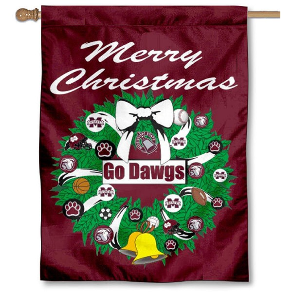Mississippi State University Holiday Flag is a decorative house flag, 30x40 inches, made of 100% polyester, Holiday NCAA team insignias, and has a top pole sleeve to hang vertically. Our Mississippi State University Holiday Flag is officially licensed by the selected university and the NCAA.