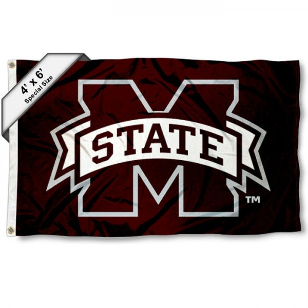 Mississippi State University Large 4x6 Flag measures 4x6 feet, is made thick woven polyester, has quadruple stitched flyends, two metal grommets, and offers screen printed NCAA Mississippi State University Large athletic logos and insignias. Our Mississippi State University Large 4x6 Flag is officially licensed by Mississippi State University and the NCAA.