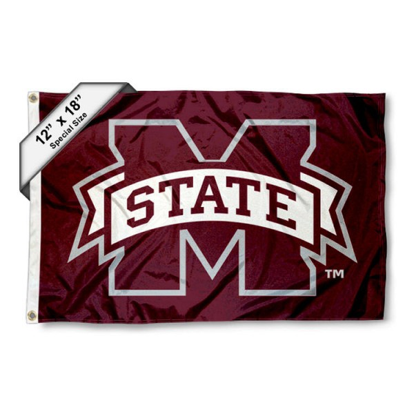Mississippi State University Mini Flag is 12x18 inches, polyester, offers quadruple stitched flyends for durability, has two metal grommets, and is double sided. Our mini flags for Mississippi State University are licensed by the university and NCAA and can be used as a boat flag, motorcycle flag, golf cart flag, or ATV flag.