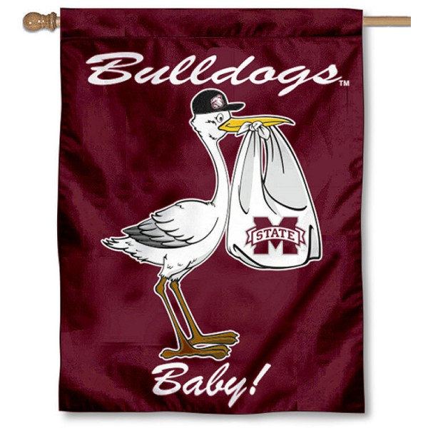 Mississippi State University New Baby Flag measures 30x40 inches, is made of poly, has a top hanging sleeve, and offers dye sublimated Bulldogs logos. This Decorative Mississippi State University New Baby House Flag is officially licensed by the NCAA.