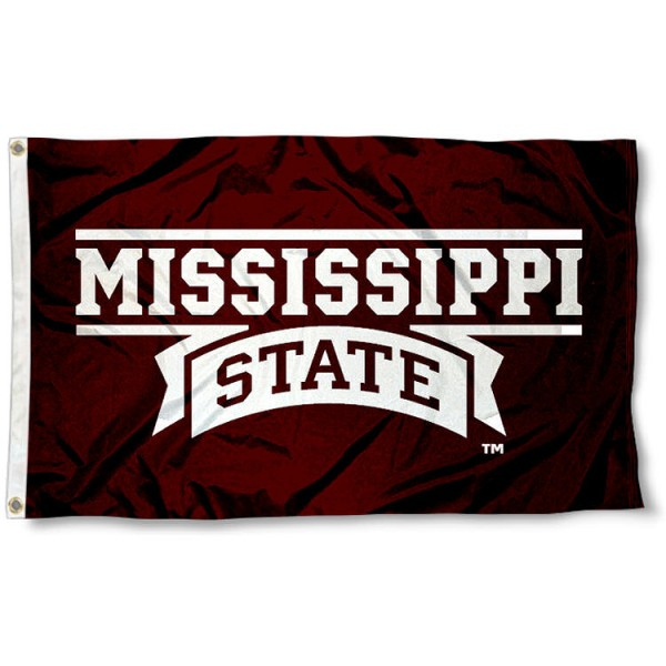 Mississippi State University Script 3x5 Flag measures 3'x5', is made of 100% poly, has quadruple stitched sewing, two metal grommets, and has double sided Mississippi State University Script logos. Our Mississippi State University Script 3x5 Flag is officially licensed by the selected university and the NCAA