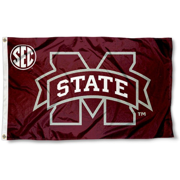 Mississippi State University SEC Flag measures 3'x5', is made of 100% poly, has quadruple stitched sewing, two metal grommets, and has double sided Team University logos. Our Mississippi State University SEC Flag is officially licensed by the selected university and the NCAA.